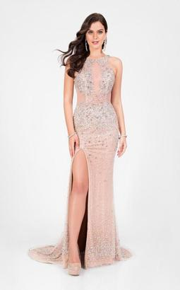 Terani Prom - Crystal Beaded Halter Long Prom Gown 1712P2517 $440 thestylecure.com