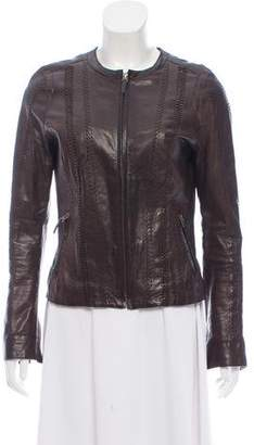 Vince Leather Collarless Jacket