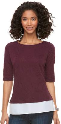 Elle Women's Jacquard Mock-Layer Top