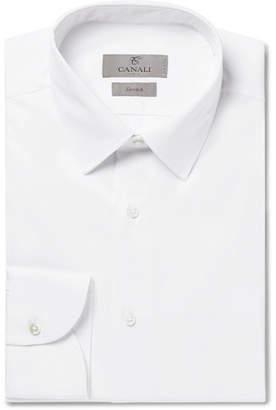 Canali White Slim-Fit Stretch Cotton-Blend Poplin Shirt