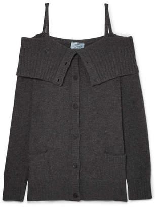 Prada - Cold-shoulder Wool And Cashmere-blend Cardigan - Gray