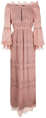 Pinko off-shoulder lace maxi dress