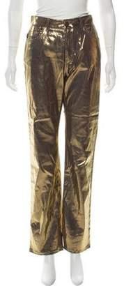 Fiorucci High-Rise Straight-Leg Yves Cigarette Metallic Jeans w/ Tags