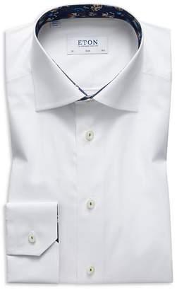 Eton Solid Floral Contrast Slim Fit Dress Shirt