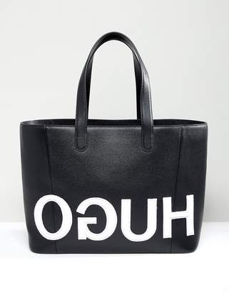 HUGO tote bag with textured logo