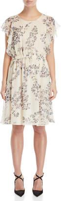 Les Copains Floral Ruffled Silk Dress