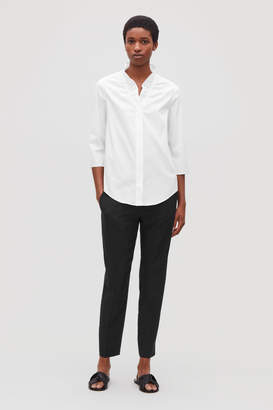 Cos BUTTONED BLOUSE WITH FRILL V-NECK