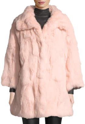 Adrienne Landau Long Textured Rabbit Fur Coat, Blush