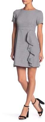 Eliza J Houndstooth Printed Ruffle Dress (Petite)