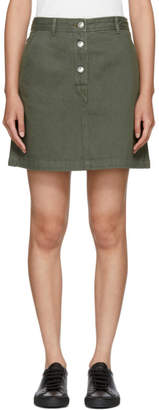 A.P.C. Khaki Denim Adele Miniskirt