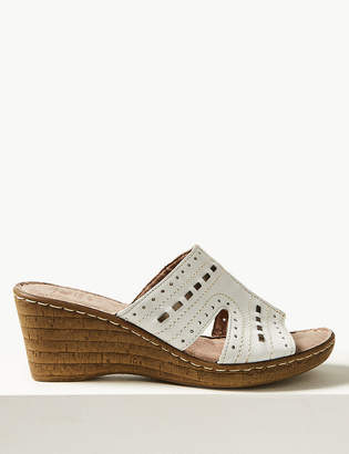 54704f52504 Marks and Spencer Wide Fit Leather Wedge Heel Mule Sandals