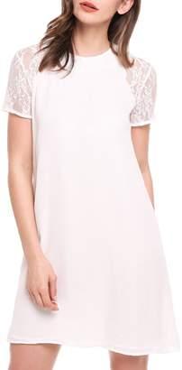 Meaneor Women Loose A Line Lace Short Sleeveless Keyhole Back Mini Dress S