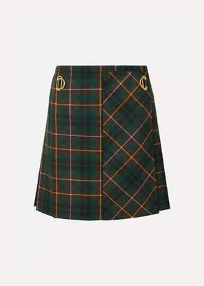 Burberry Pleated Tartan Wool Mini Skirt
