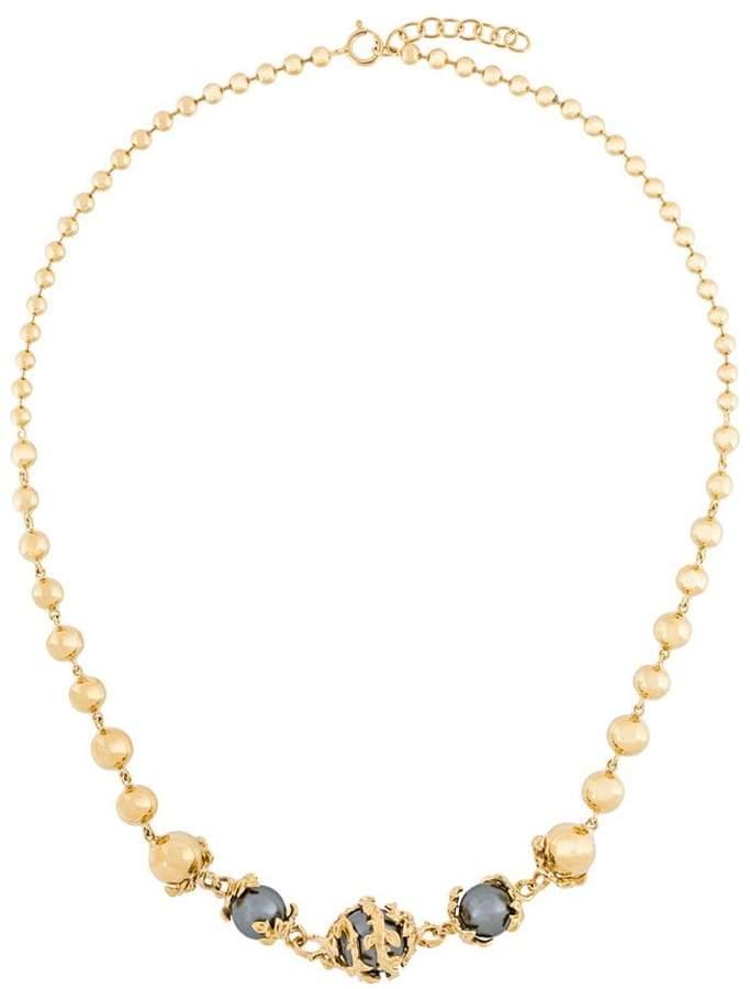 Kasun London Vergoldete Sterlingsilberhalskette mit Perlen
