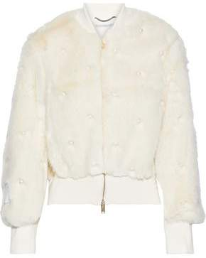 Stella McCartney Kiernand Embellished Faux Fur Bomber Jacket