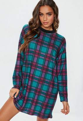 Missguided Teal Plaid Oversized T Shirt Dress