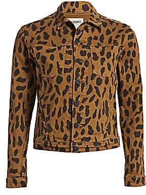 L'Agence Women's Celine Animal-Print Denim Jacket