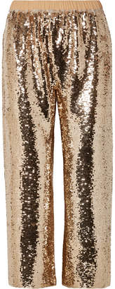 Figue Verushka Cropped Sequined Tulle Pants - Gold