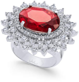 Joan Boyce Silver-Tone Oval Center Crystal Statement Ring