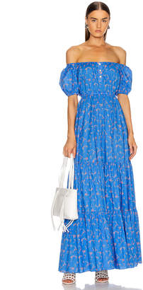 Caroline Constas Bardot Cotton Maxi Dress in Blue | FWRD