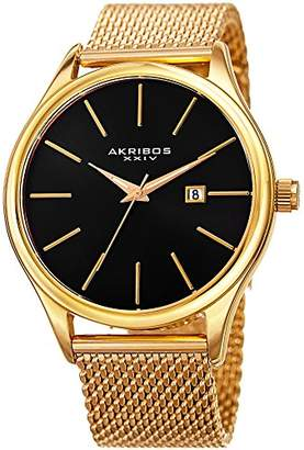 Akribos XXIV Yellow Gold Designer Men's Watch – Classic and Casual Round Stainless Steel Mesh Fashion Bracelet Wristwatch AK959YGB