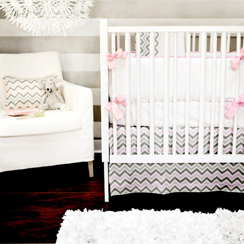 Addison Baby Bedding in Pink and Grey