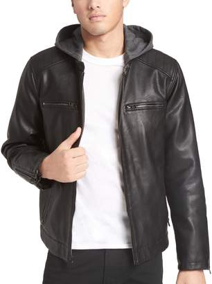 Levi's Levis Men's Faux-Leather Hooded Racer Jacket