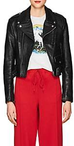 RE/DONE Women's Distressed Leather Moto Jacket-Black