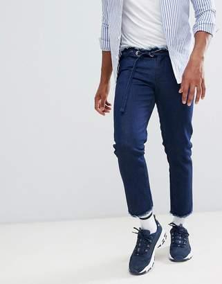 Asos Design DESIGN slim jeans in indigo with d-ring belt