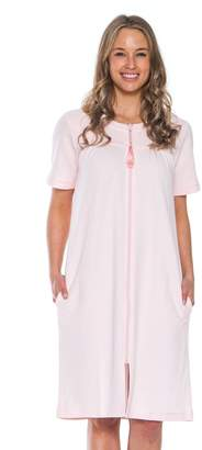 Patricia from Paris Women's Soft Waffle Knit Knee Length Zip up Nightgown (Pink,)