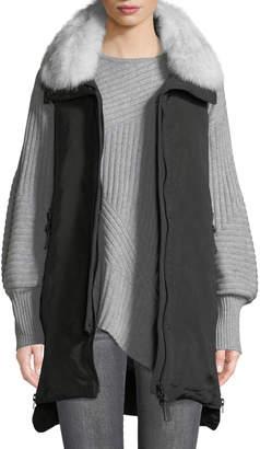 Derek Lam 10 Crosby Down-Fill Vest with Fox Fur Trim