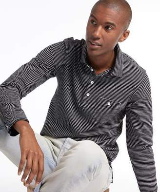Todd Snyder Long Sleeve Striped Polo in Navy