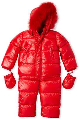 ADD Toddler Boys) Two-Piece Real Fur Trim Hooded Down Coat & Snow Bib Set