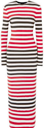 Norma Kamali Striped Stretch-jersey Maxi Dress - Red