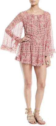 Zimmermann Castile Flared-Sleeve Floral-Print Playsuit