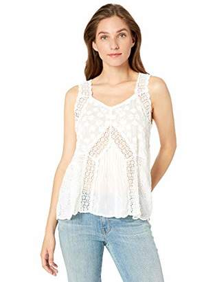Johnny Was Women's Lace Trim Embroidered Tank