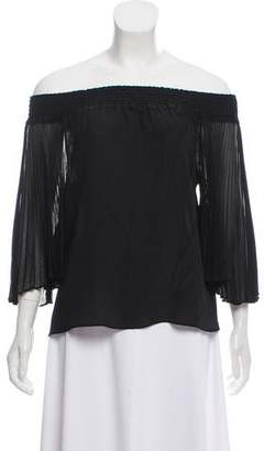 Alice + Olivia Off-The-Shoulder Pleated Top w/ Tags