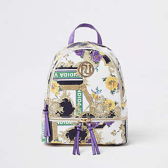 River Island Girls purple RI baroque print backpack