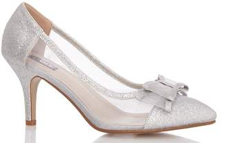 957868080c2 Dorothy Perkins Womens  Quiz Silver Bow Mesh Point Court Shoes