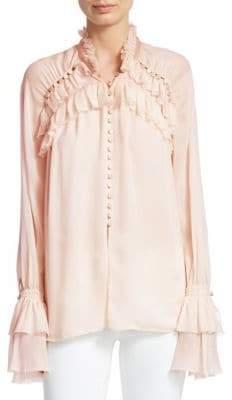 Jonathan Simkhai Chiffon Lace Button Blouse