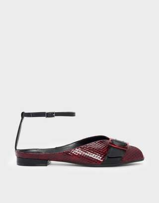 Charles & Keith Ankle Strap Peep Toe Flats