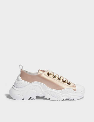 N°21 N21 Satin Exagerated Sole Sneakers in Nude and White Satin