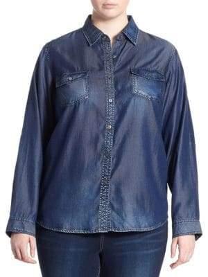 Slink Jeans, Plus Size Plus Western Long-Sleeve Shirt