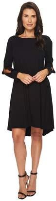 Mod-o-doc Cotton Modal Spandex Jersey Split Sleeve Swing Dress with Lace Trim Women's Dress