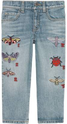 Gucci Kids Children's embroidered denim pant