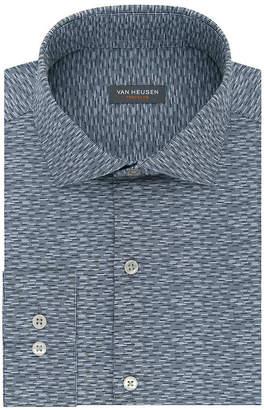 Van Heusen Traveler Stretch Slim Fit Long Sleeve Broadcloth Geo Linear Dress Shirt - Slim