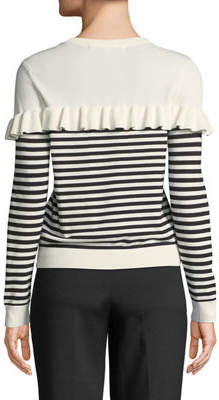 ENGLISH FACTORY Ruffle-Trimmed Striped Sweater