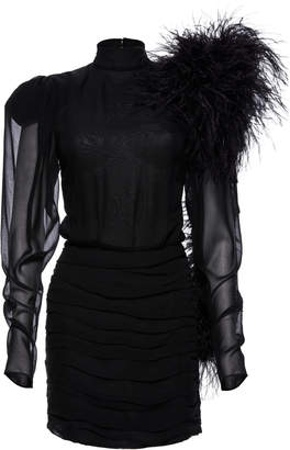 Magda Butrym Dubai Feather-Embellished Silk-Chiffon Mini Dress