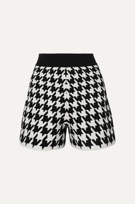 Alexander McQueen Houndstooth Jacquard-knit Shorts - Black