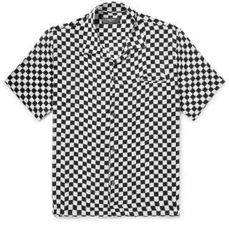 Amiri Camp-Collar Checkerboard Silk Shirt